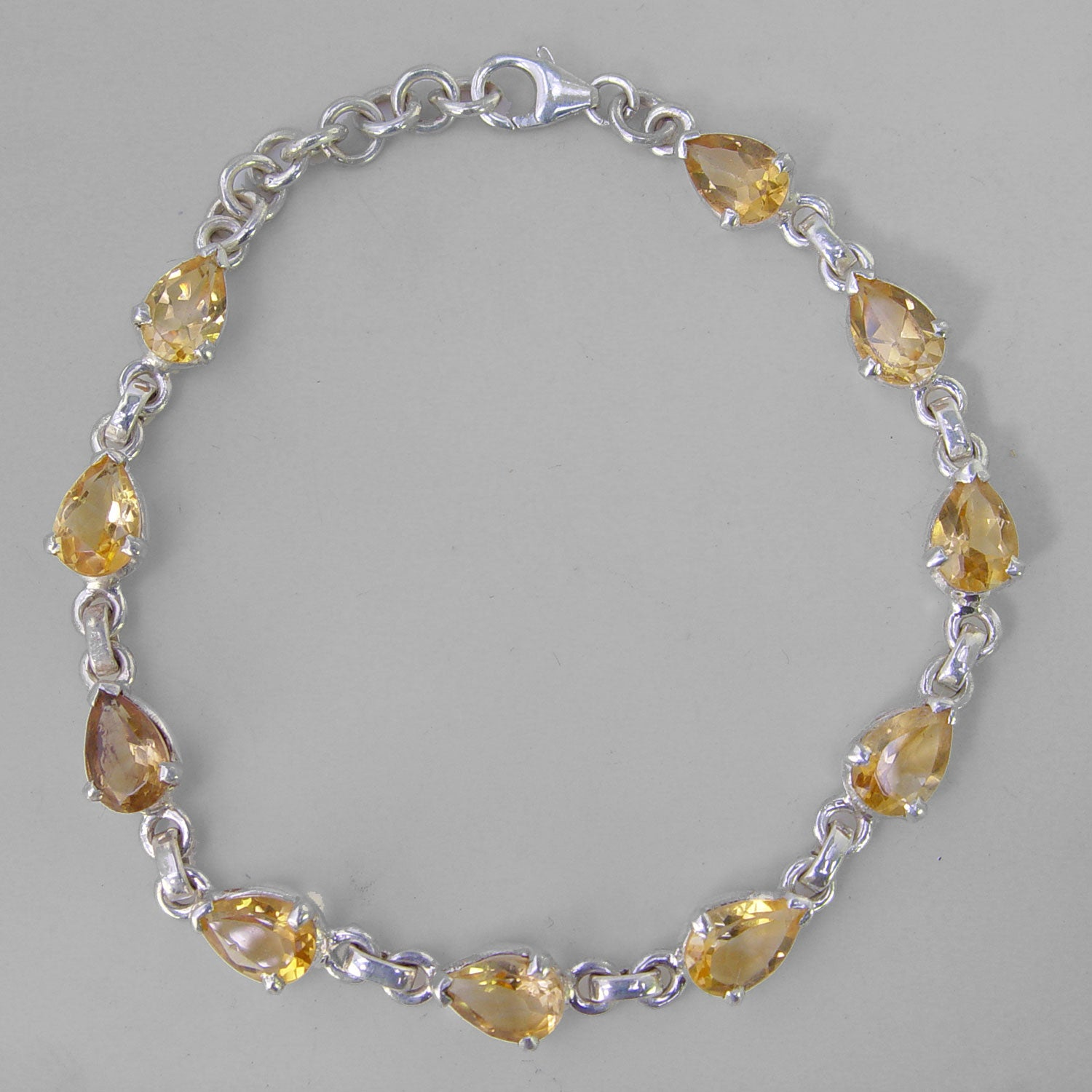 Citrine 10 Faceted Pears Prong Set Sterling Silver Link Bracelet - 7 CTW