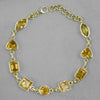 Citrine 9 Faceted Mixed Shapes Sterling Silver Link Bracelet - 20 CTW