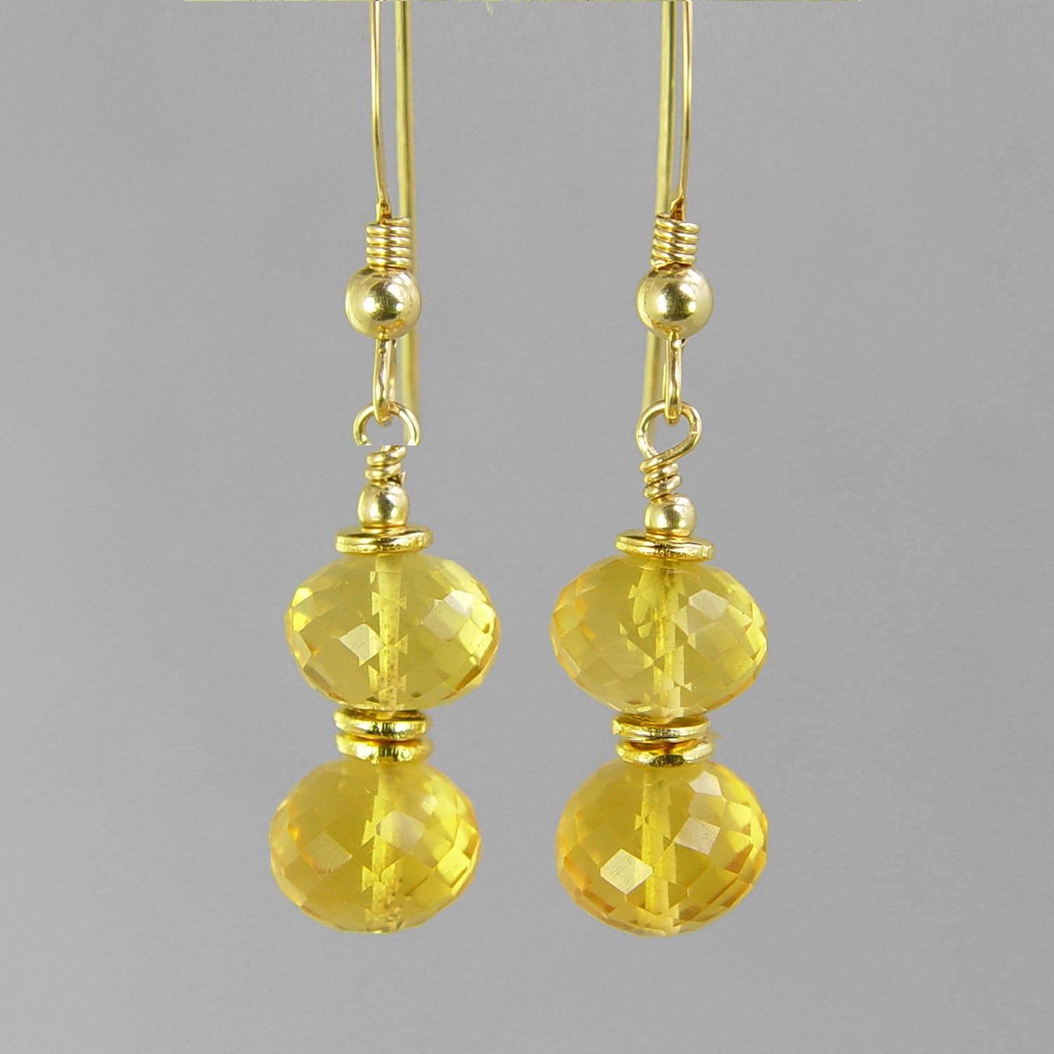 Citrine Faceted Rondelle Earrings