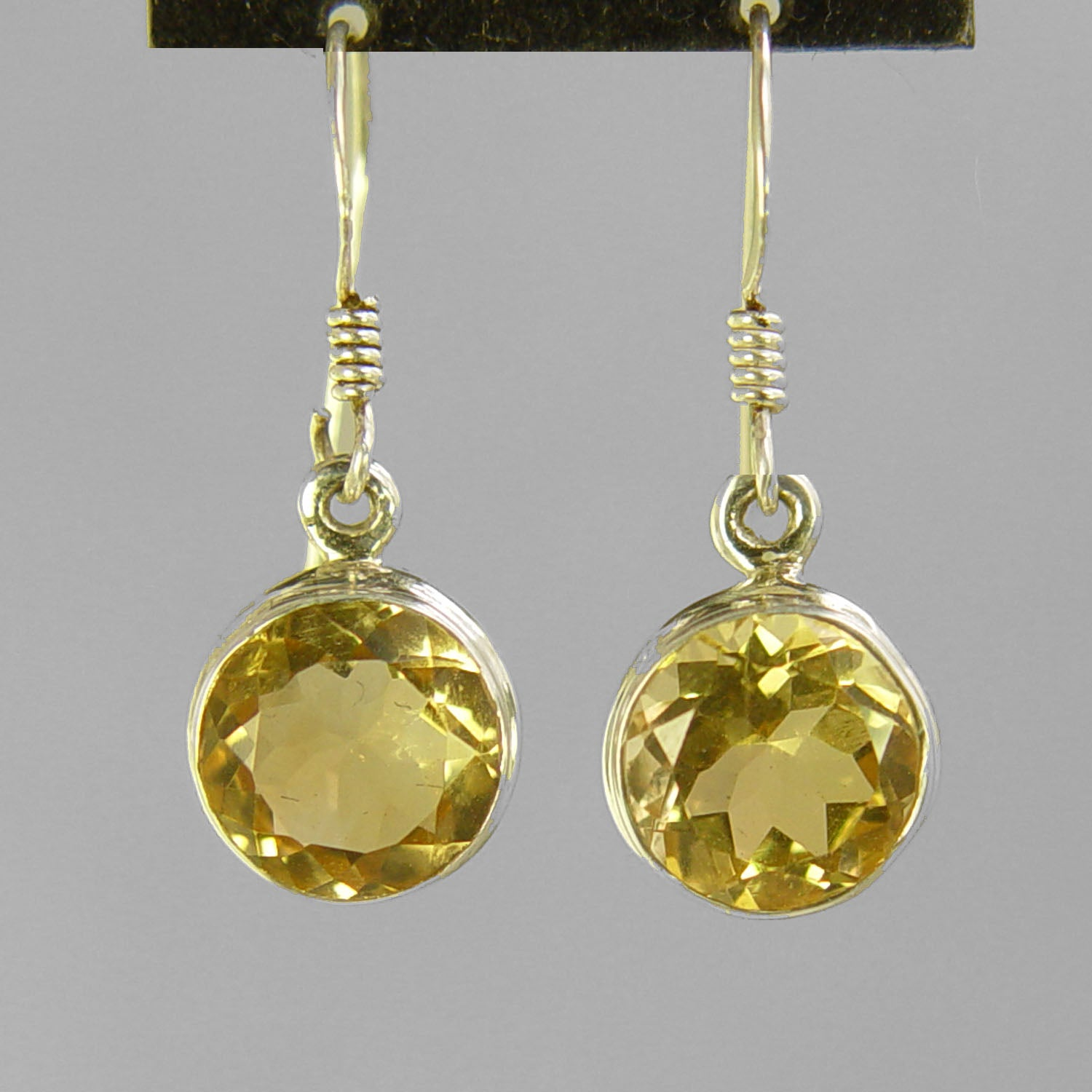 Citrine 6 ctw Faceted Round Bezel Set Earrings