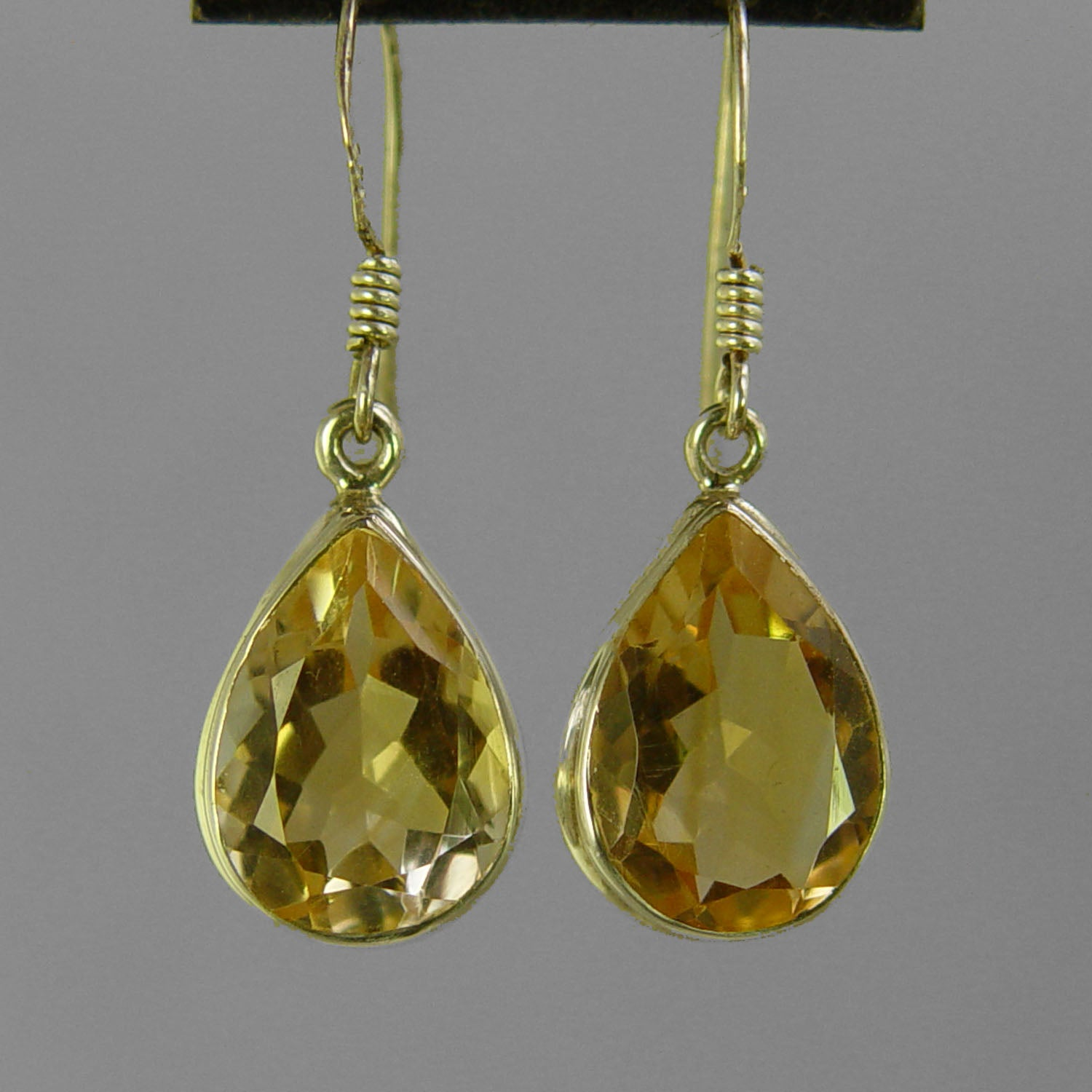 Citrine 12 ctw Faceted Pear Shape Bezel Set Earrings