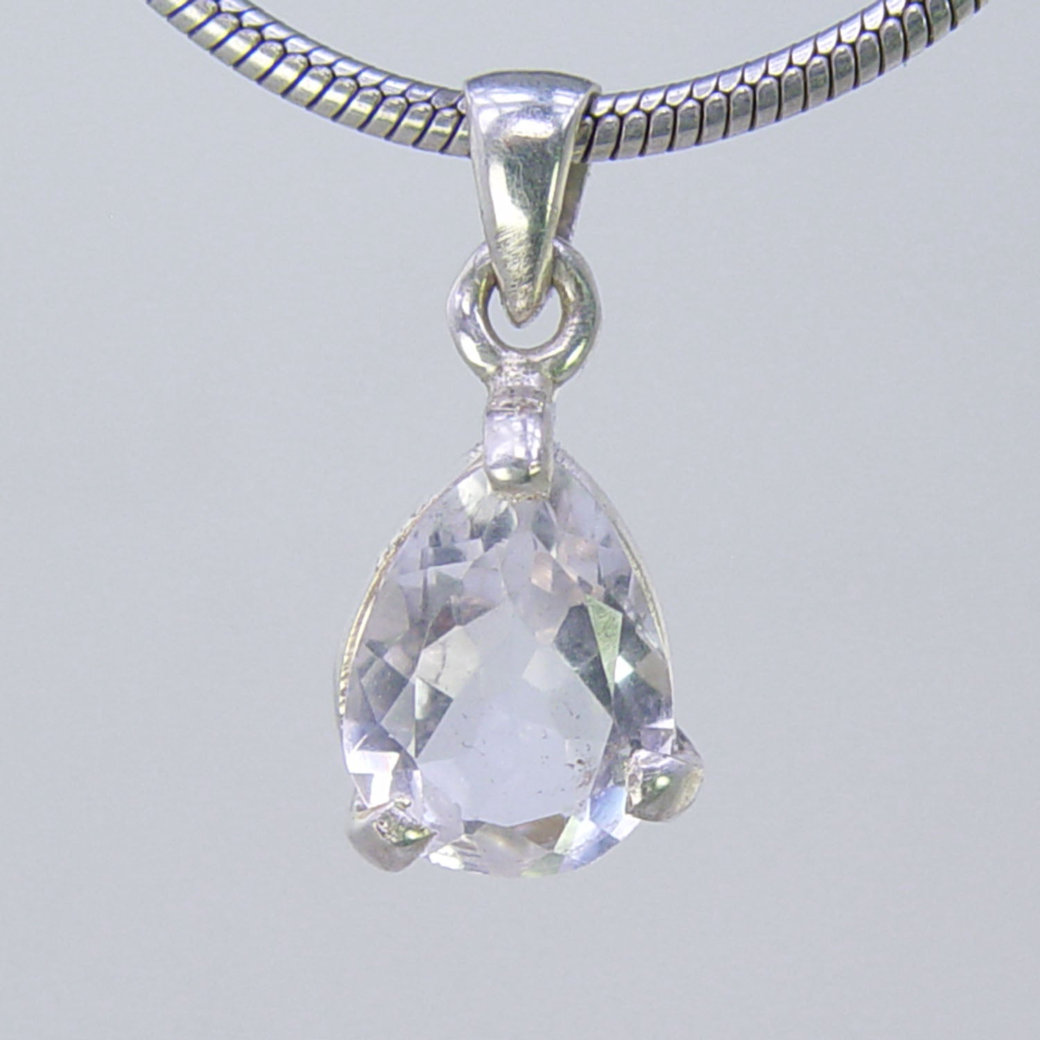 Crystal Quartz  3 ct Faceted Pear Shape Sterling Silver Pendant