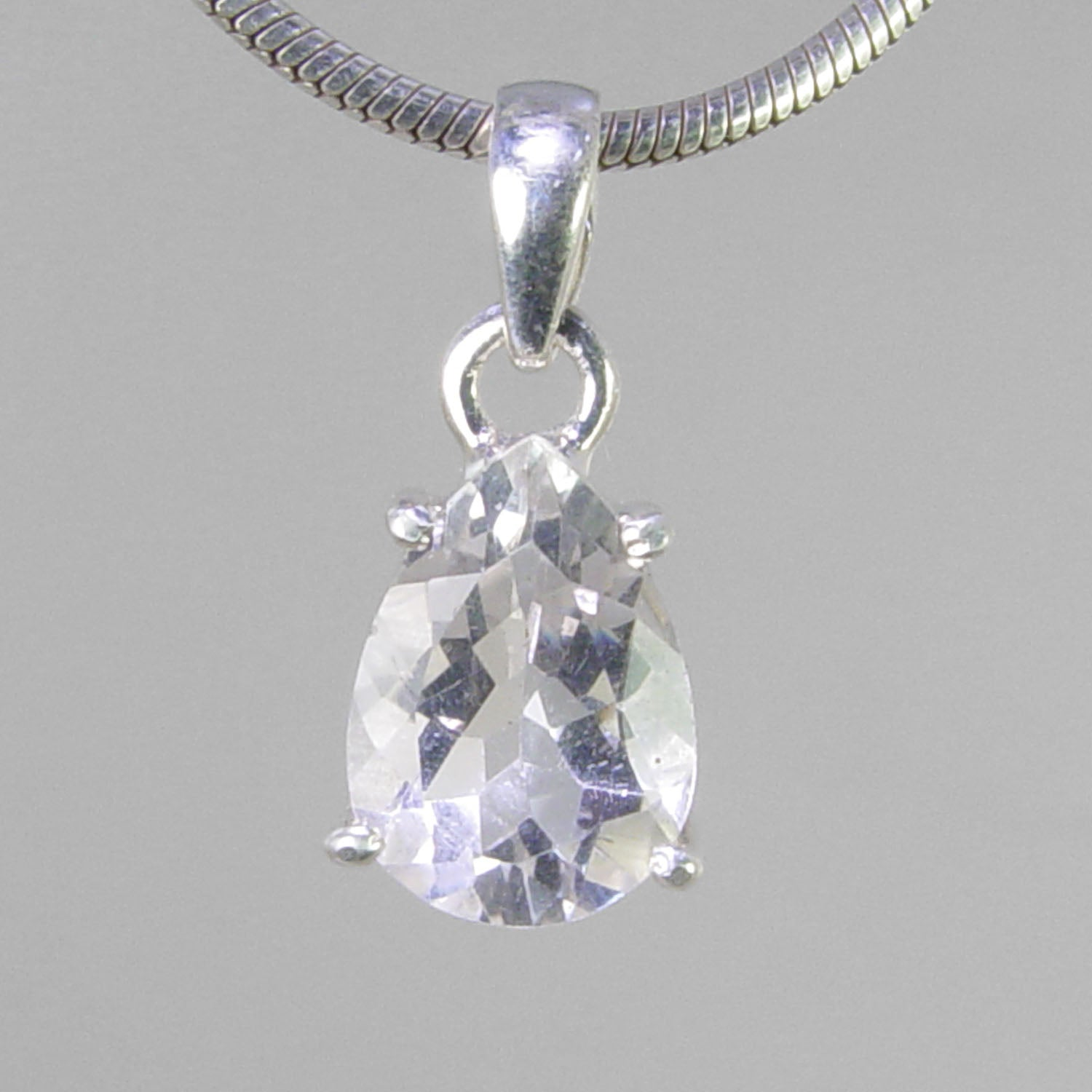 Crystal Quartz  4.8 ct Faceted Pear Shape Sterling Silver Pendant