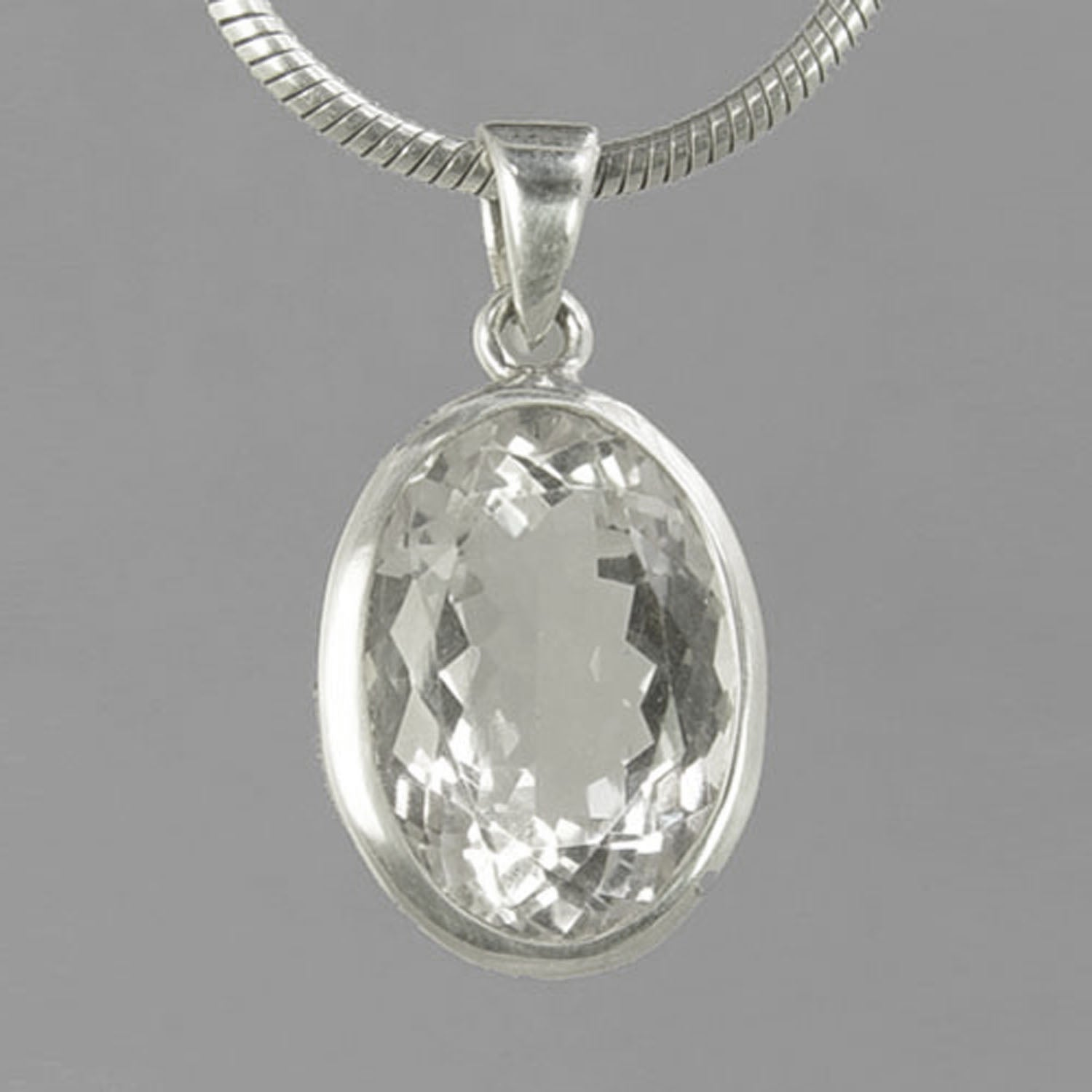 Crystal Quartz  13 ct Oval Fancy Bezel Set Sterling Silver Pendant