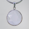 Crystal Quartz  14.5 ct Faceted Star Cut Sterling Silver Bezel Pendant