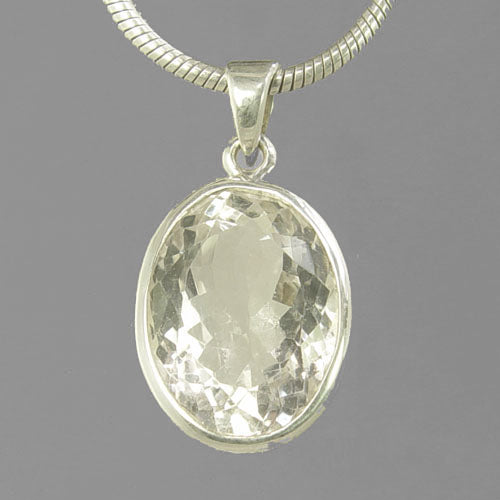 Crystal Quartz 18 ct Oval Fancy Bezel Set Sterling Silver Pendant