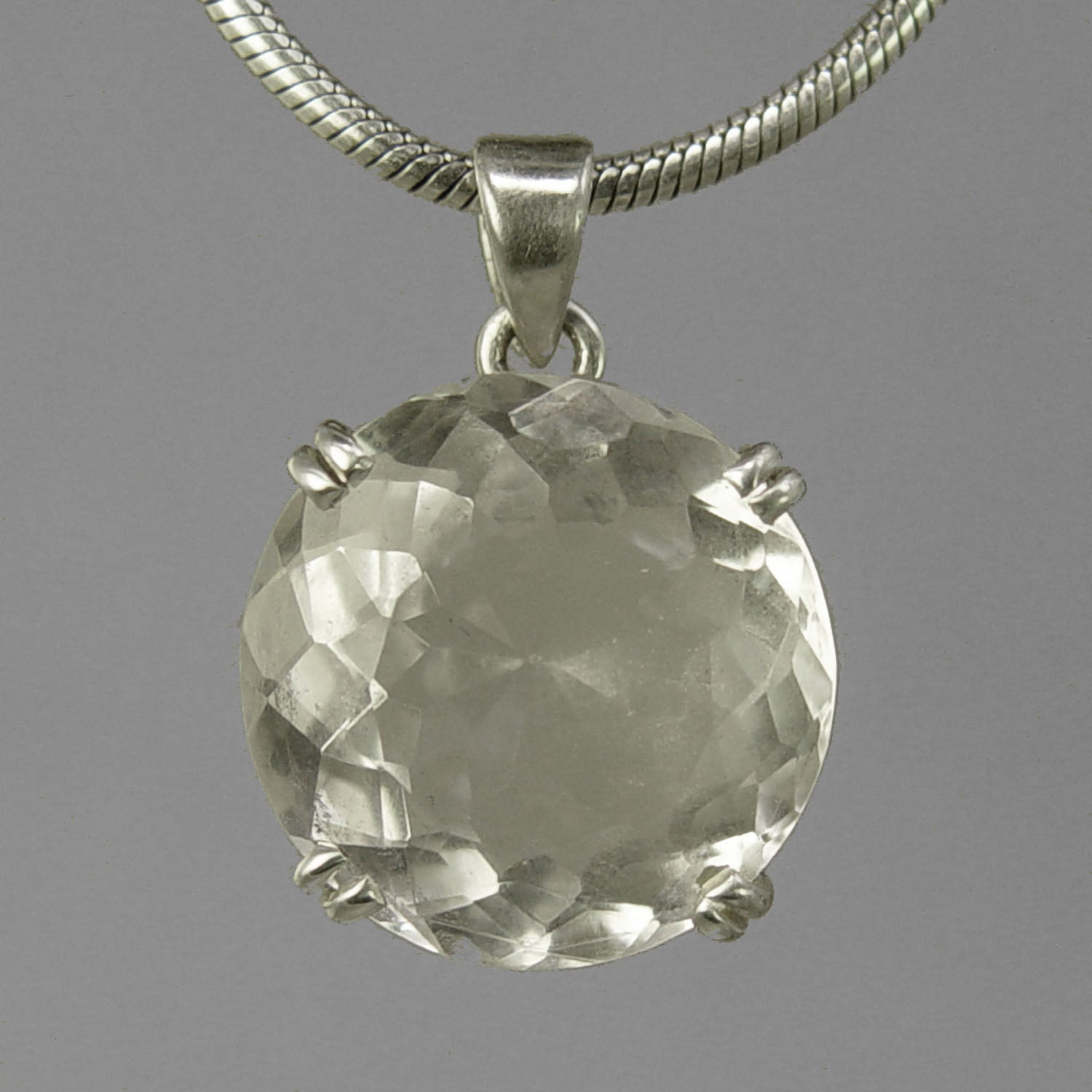 Crystal Quartz 21 ct Round Prong Set Sterling Silver Pendant