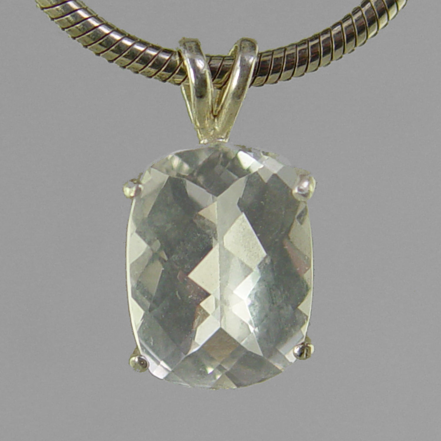 White Topaz 6.75 ct Antique Emerald Cut Sterling Silver Pendant