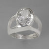 Quartz Crystal 4 ct Oval Bezel Offset Split Shank Sterling Silver Ring, Size 9.5