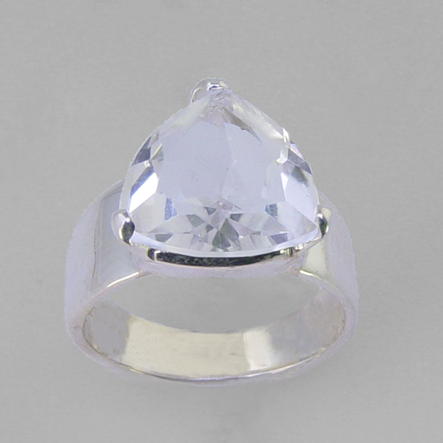 Quartz Crystal 5.72 ct Faceted Trillion Cut Sterling Silver Ring, Size 8 1/2