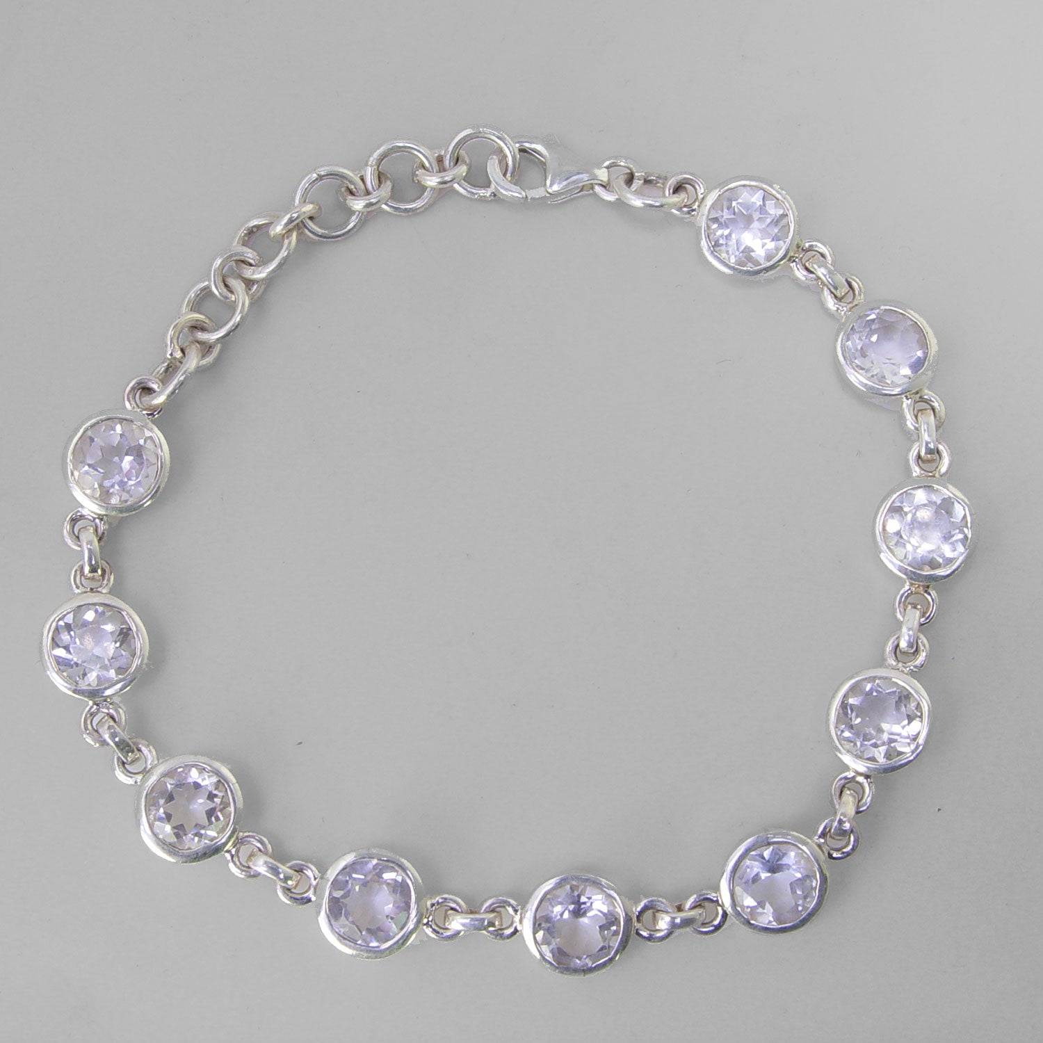 Crystal 10 Faceted Rounds Bezel Set Sterling Silver Link Bracelet - 9 CTW