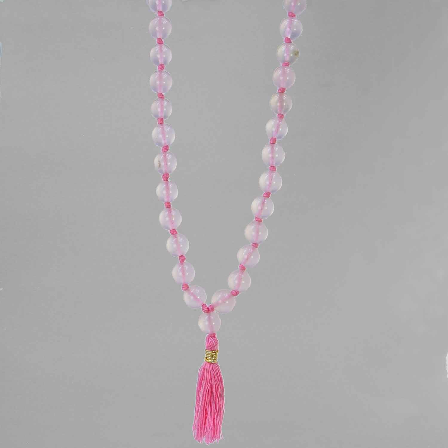 "Venus Mala - Rose Quartz Knotted with pink tassel, 30"" Mala"