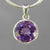Amethyst 4.2 ct Round Fancy Bezel Set Sterling Silver Pendant