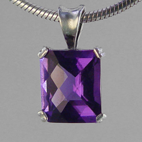 Amethyst 5.5 ct Antique Emerald Sterling Silver Pendant