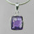 Amethyst 5.5 ct Antique Emerald Bezel Set Sterling Silver Pendant