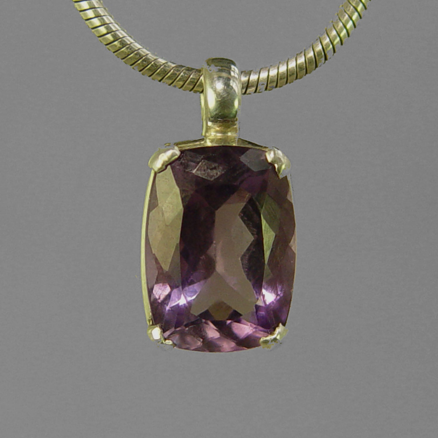 Amethyst 7.9 ct Antique Emerald Sterling Silver Pendant