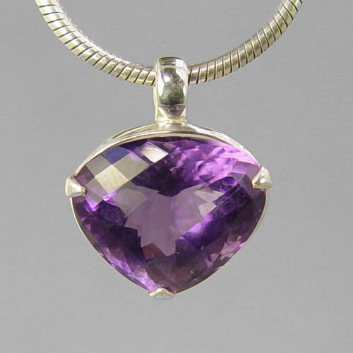 Amethyst 11.65 ct Trillion Cut Sterling Silver Pendant