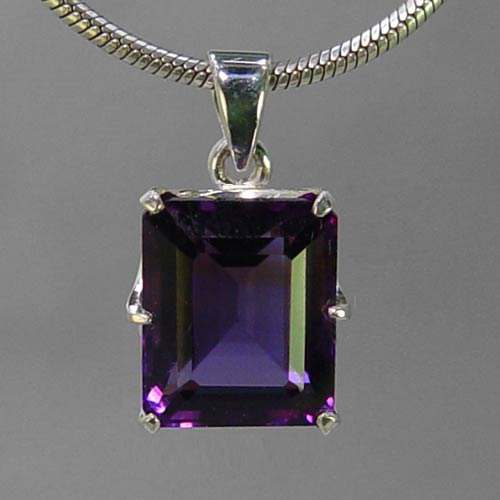 Amethyst 13 ct Emerald Cut Sterling Silver Pendant