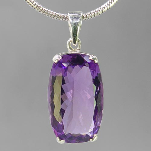 Amethyst 19.5 ct Antique Emerald Cut Sterling Silver Pendant