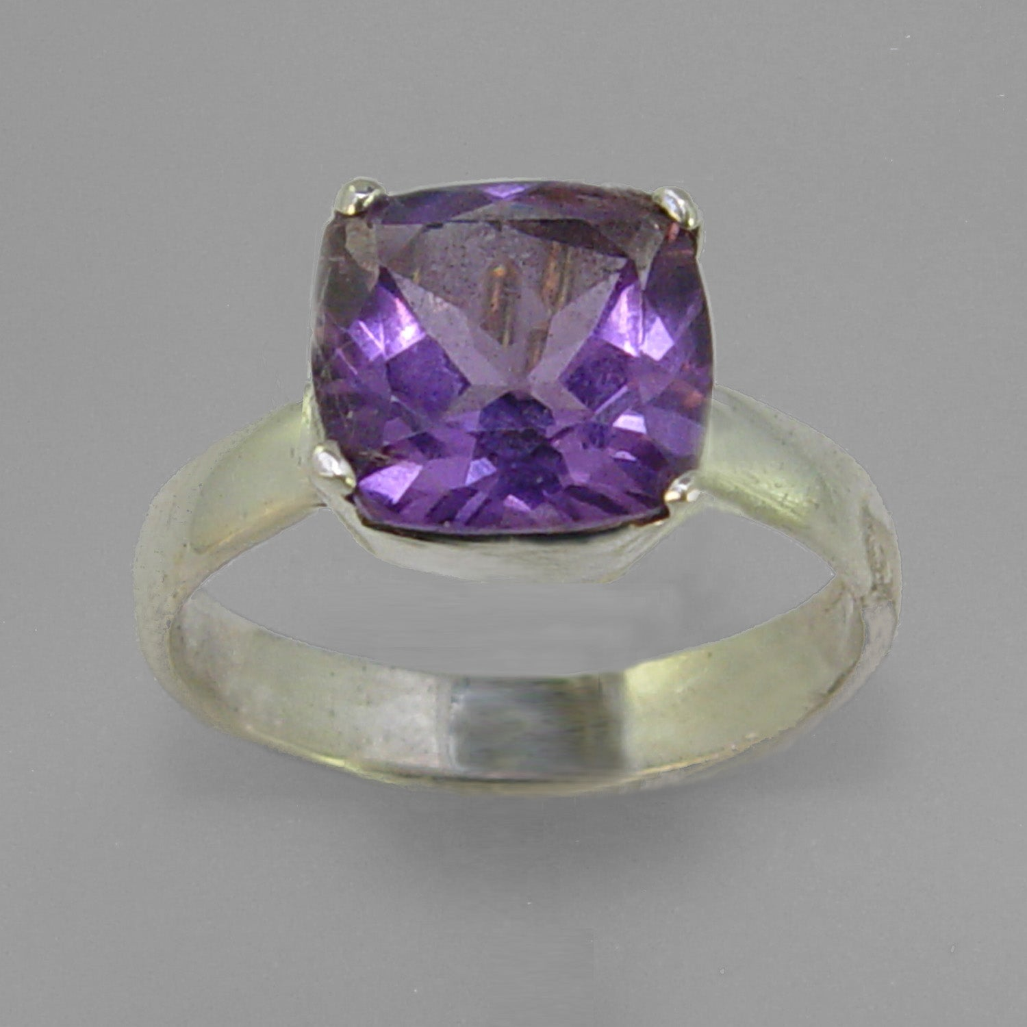 Amethyst 3.4 ct Antique Square Cut Sterling Silver Ring, Size 9