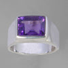 Amethyst 3.8 ct Emerald Bezel Set Sterling Silver Ring, Size 8