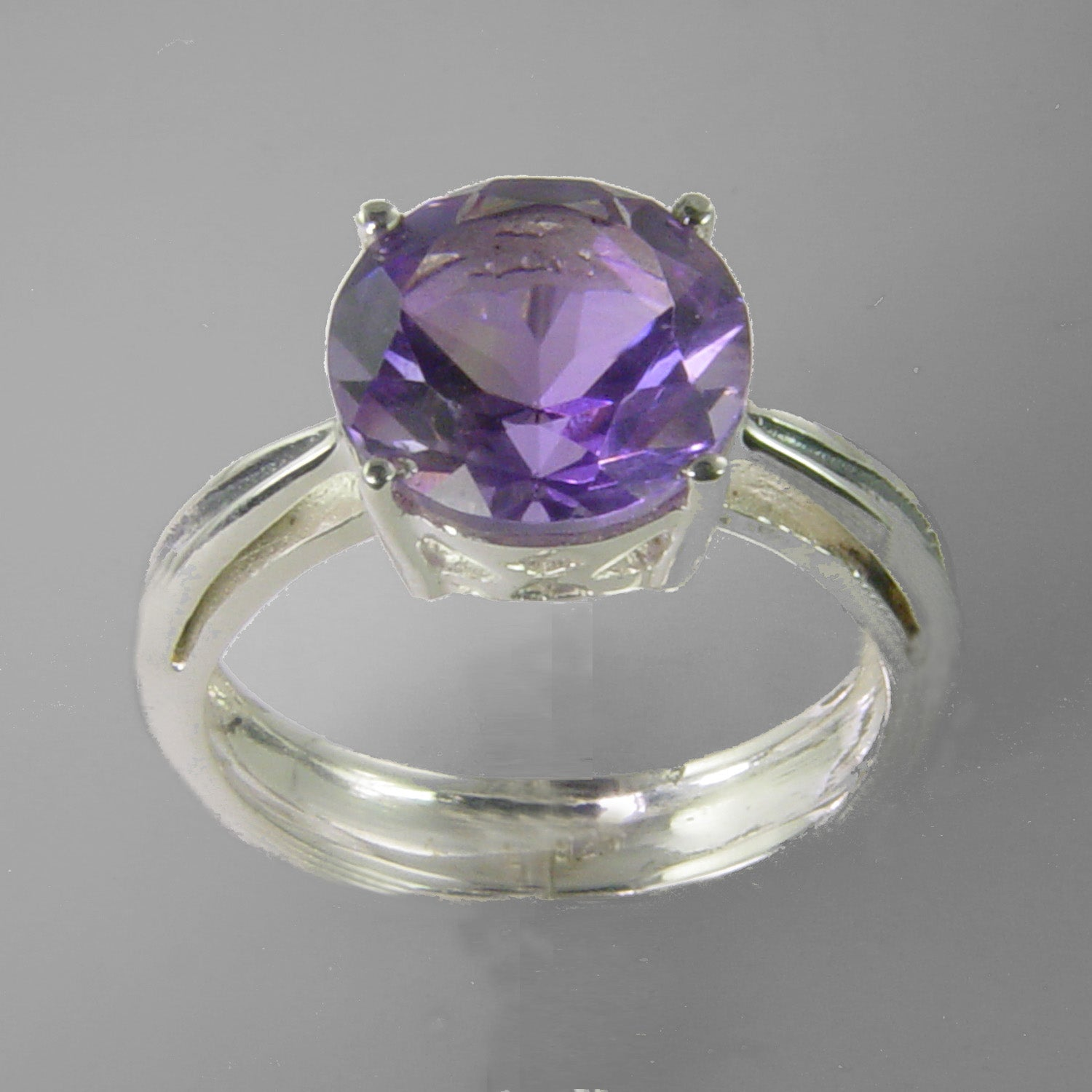 Amethyst 3.4 ct Round Sterling Silver Ring, Size 8