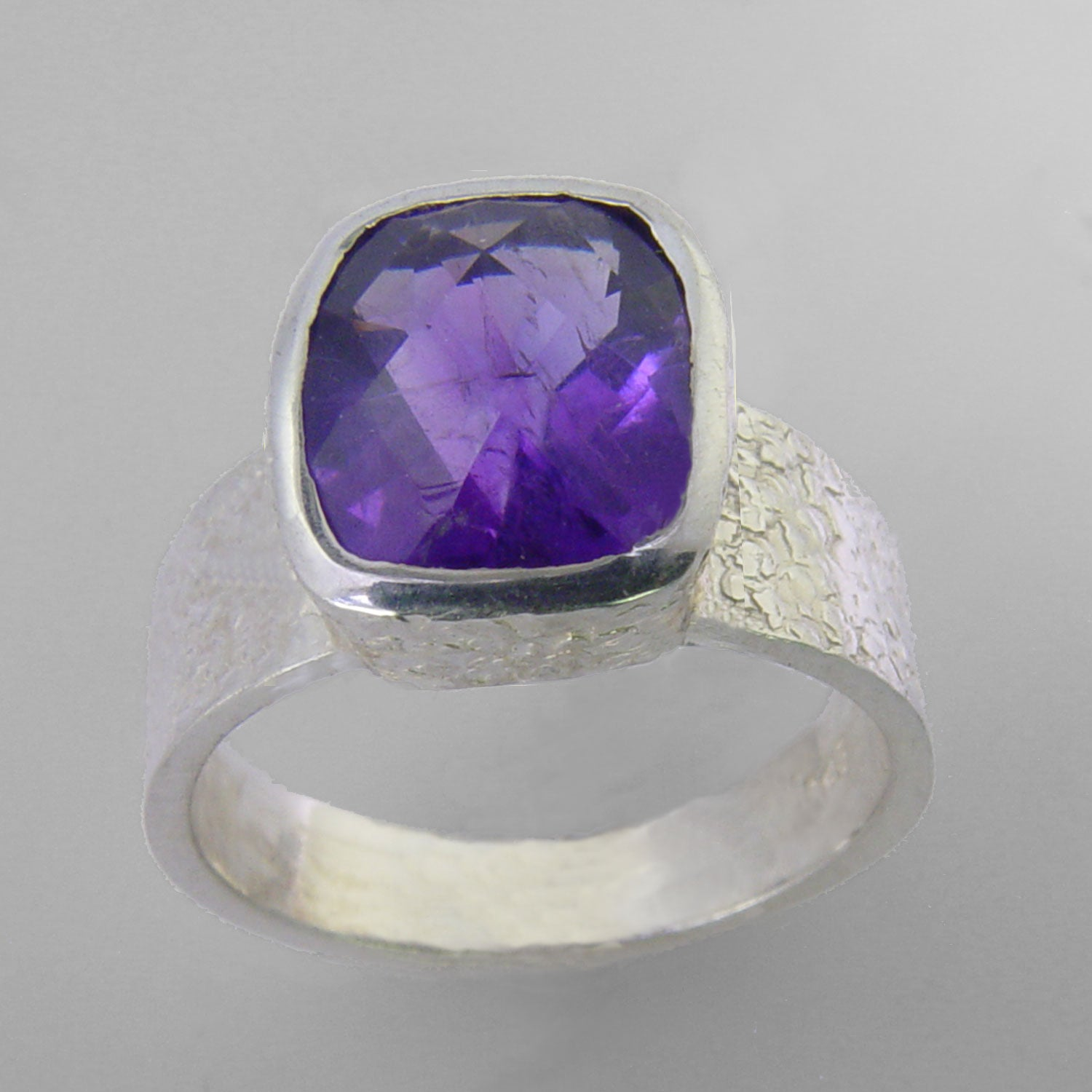Amethyst 4.0 ct Antique Emerald Bezel Set Sterling Silver Ring, Size 7.5