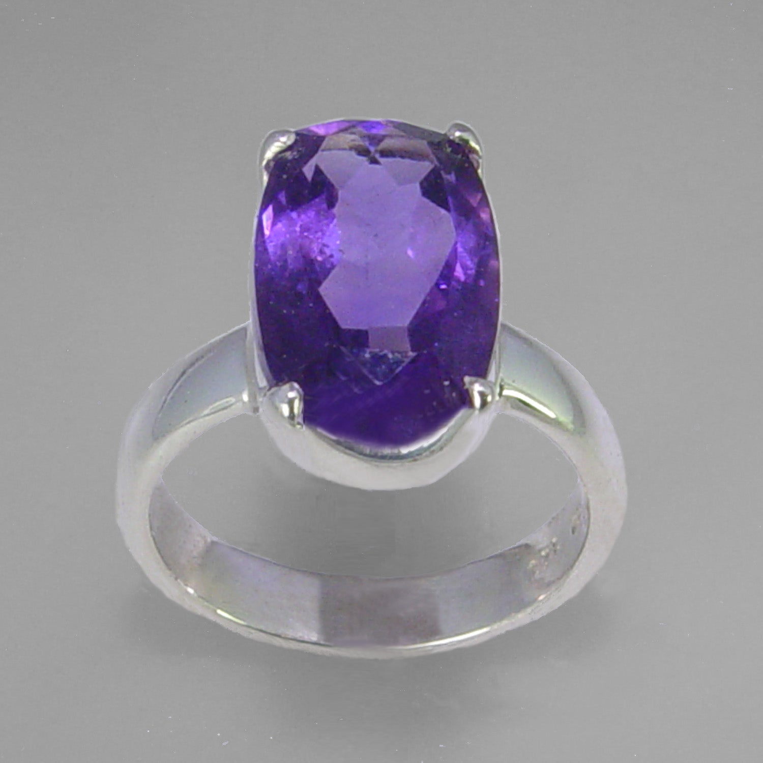 Amethyst 5.8 ct Antique Emerald Cut Sterling Silver Ring, Size 7.5