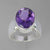 Amethyst 5.9 ct Oval Bezel Set Sterling Silver Ring, Size 7.75