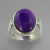 Amethyst 7.9 ct Oval Cab Bezel Set Sterling Silver Ring, Size 8