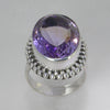 Amethyst 19 ct Oval Beaded Bezel Sterling Silver Split Shank Ring, Size 7.75