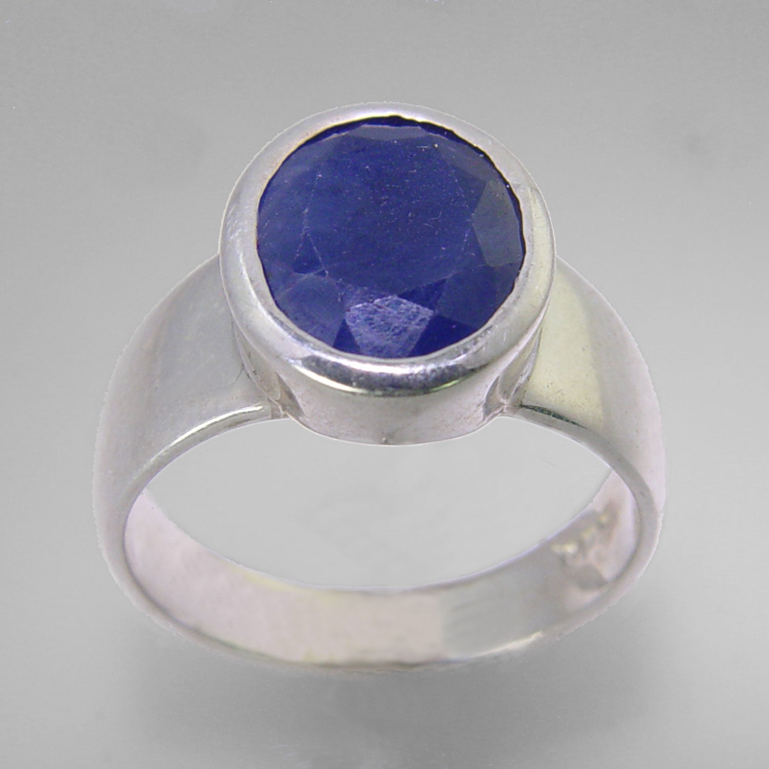 Blue Sapphire 4 ct Faceted Oval Sterling Silver Ring, Size 8
