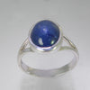 Blue Sapphire 4.85 ct Oval Cab Sterling Silver Ring, Size 7