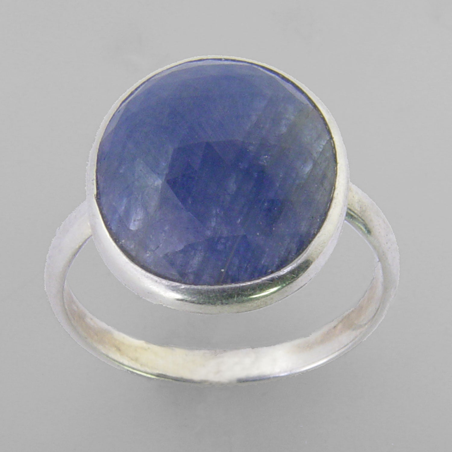 Blue Sapphire 6 ct Faceted Oval Cab Sterling Silver Ring, Size 7.75