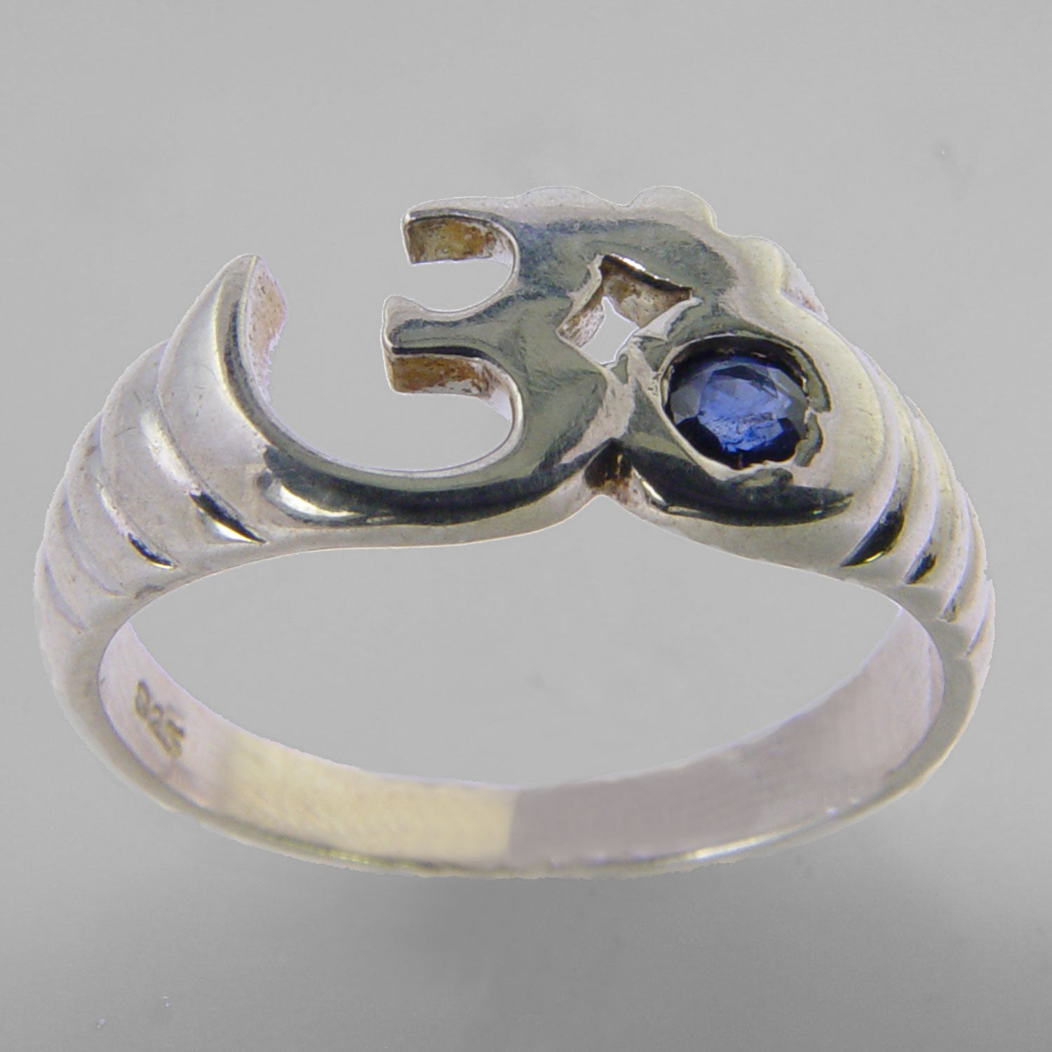 Aum Ring with Small Faceted Blue Sapphire in Sterling Silver, Size 7.5
