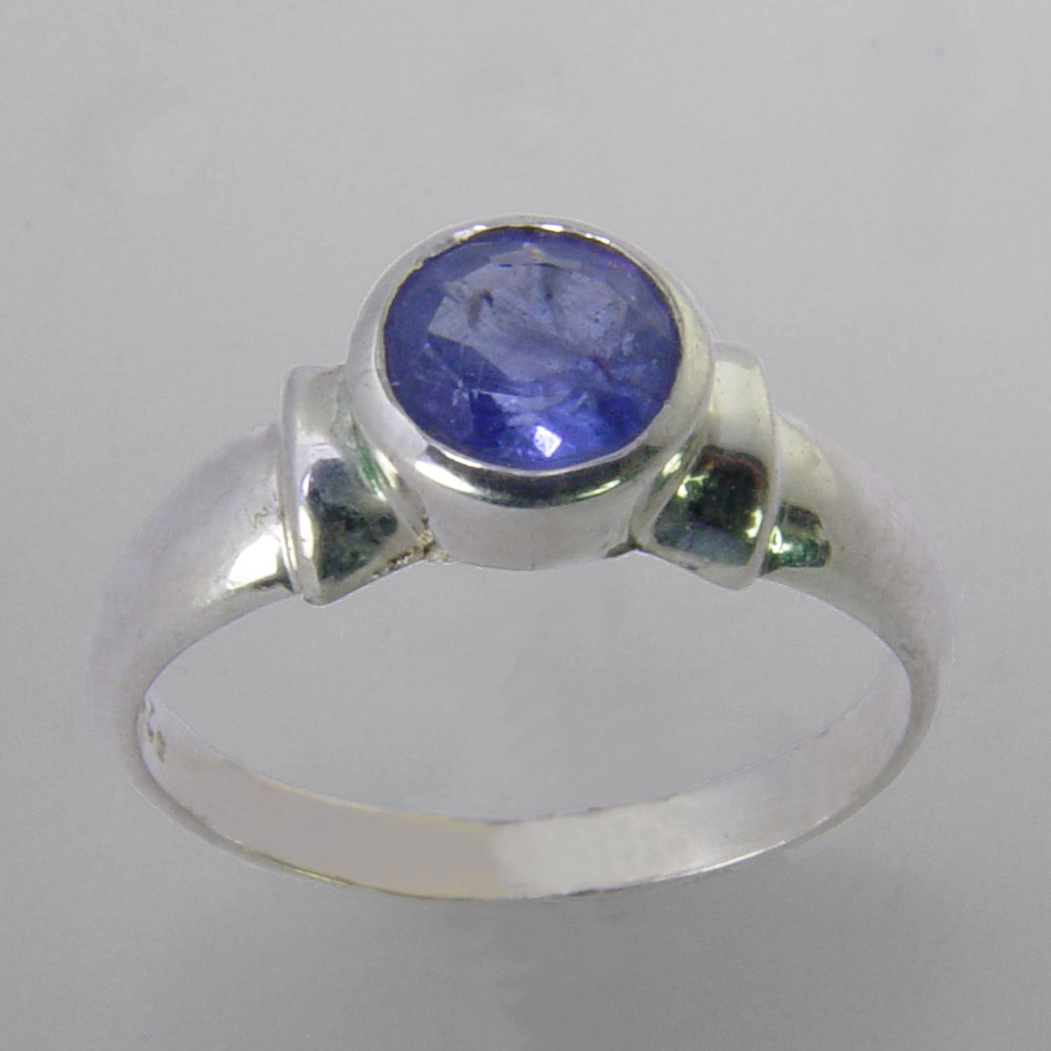 Tanzanite 1.3 ct Faceted Round Sterling Silver Ring, Size 9