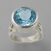 Blue Topaz 15 ct Faceted Round Bezel Set Sterling Silver Ring, Size 8.5