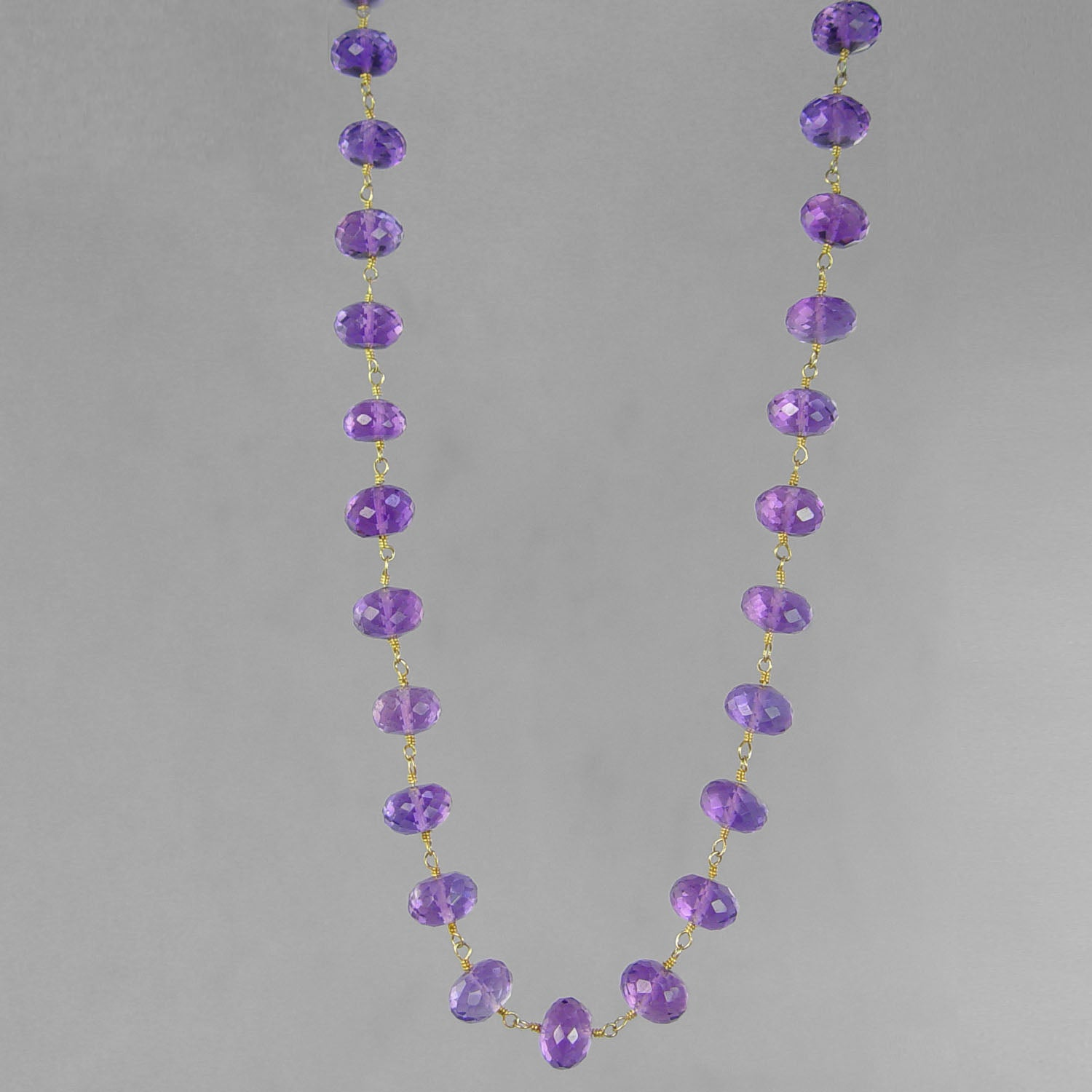 "Amethyst Faceted Rondelle Beads on Gold Filled Wire 18"" Necklace"
