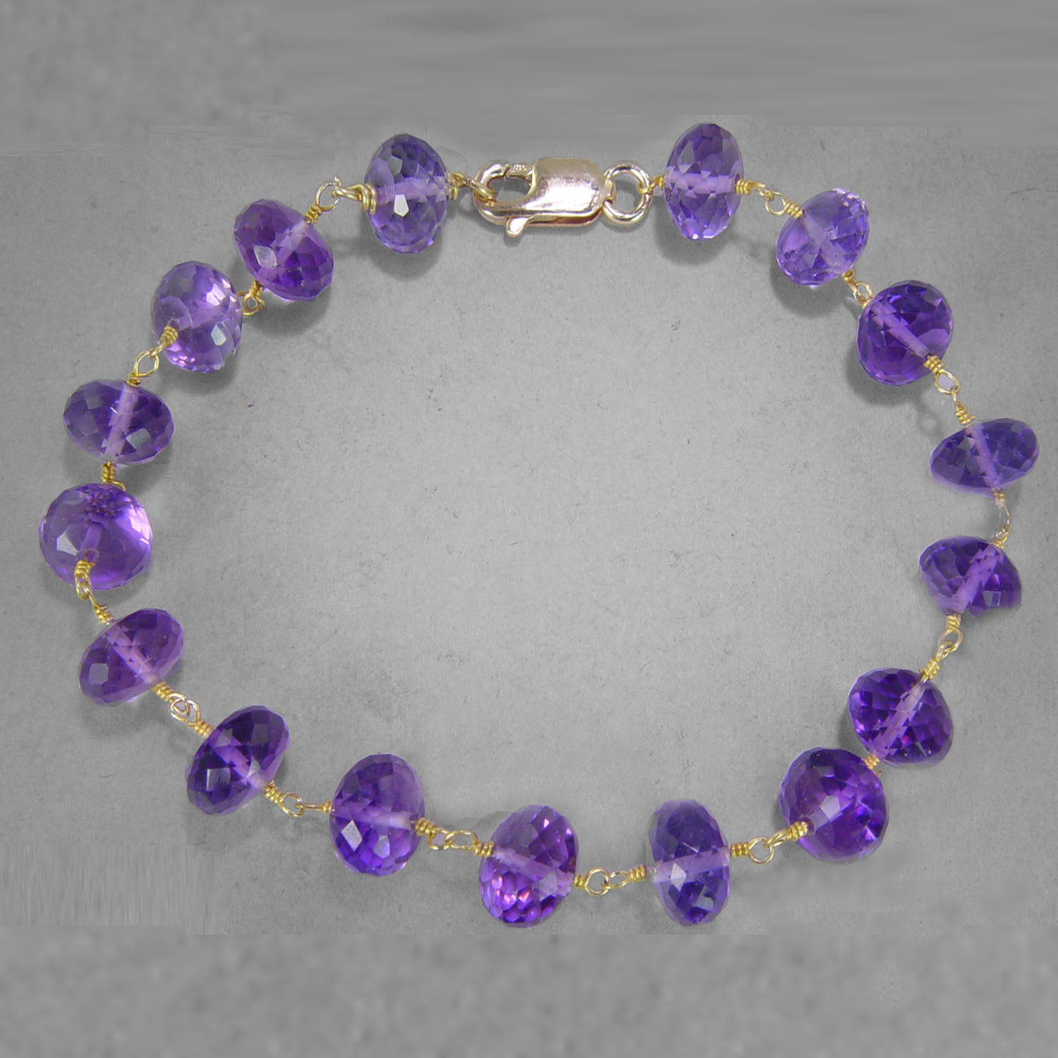Amethyst Faceted Rondelle Gold Filled Wire Bracelet