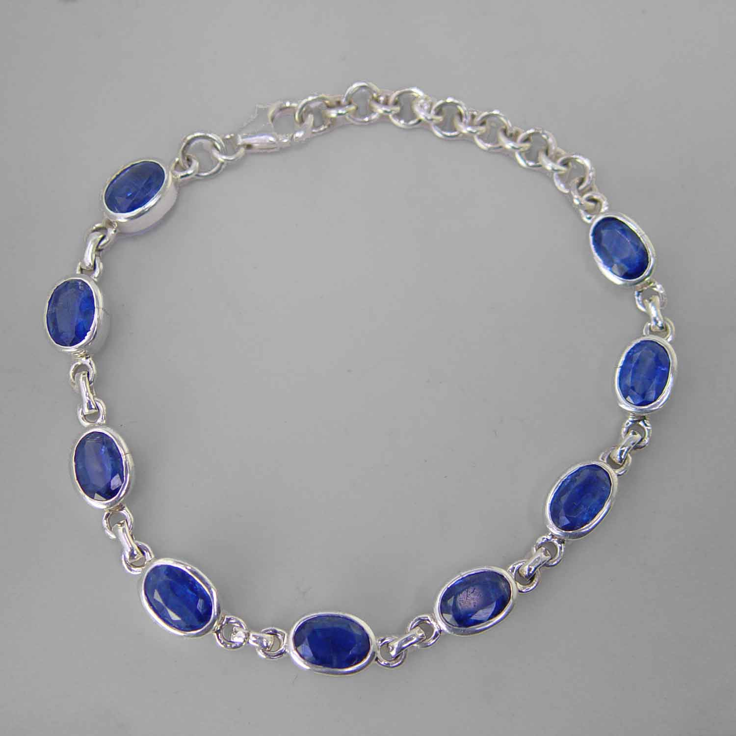 Kyanite Faceted Oval Sterling Silver Link Bracelet - 30 CTW