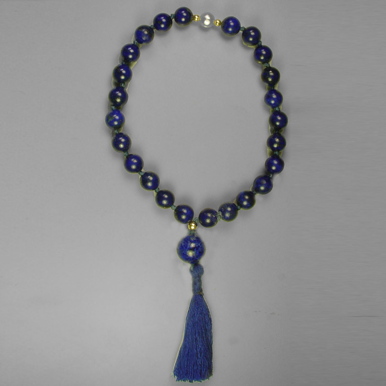 Saturn Mala - Lapis Mini Mala With Crystal Counter Beads