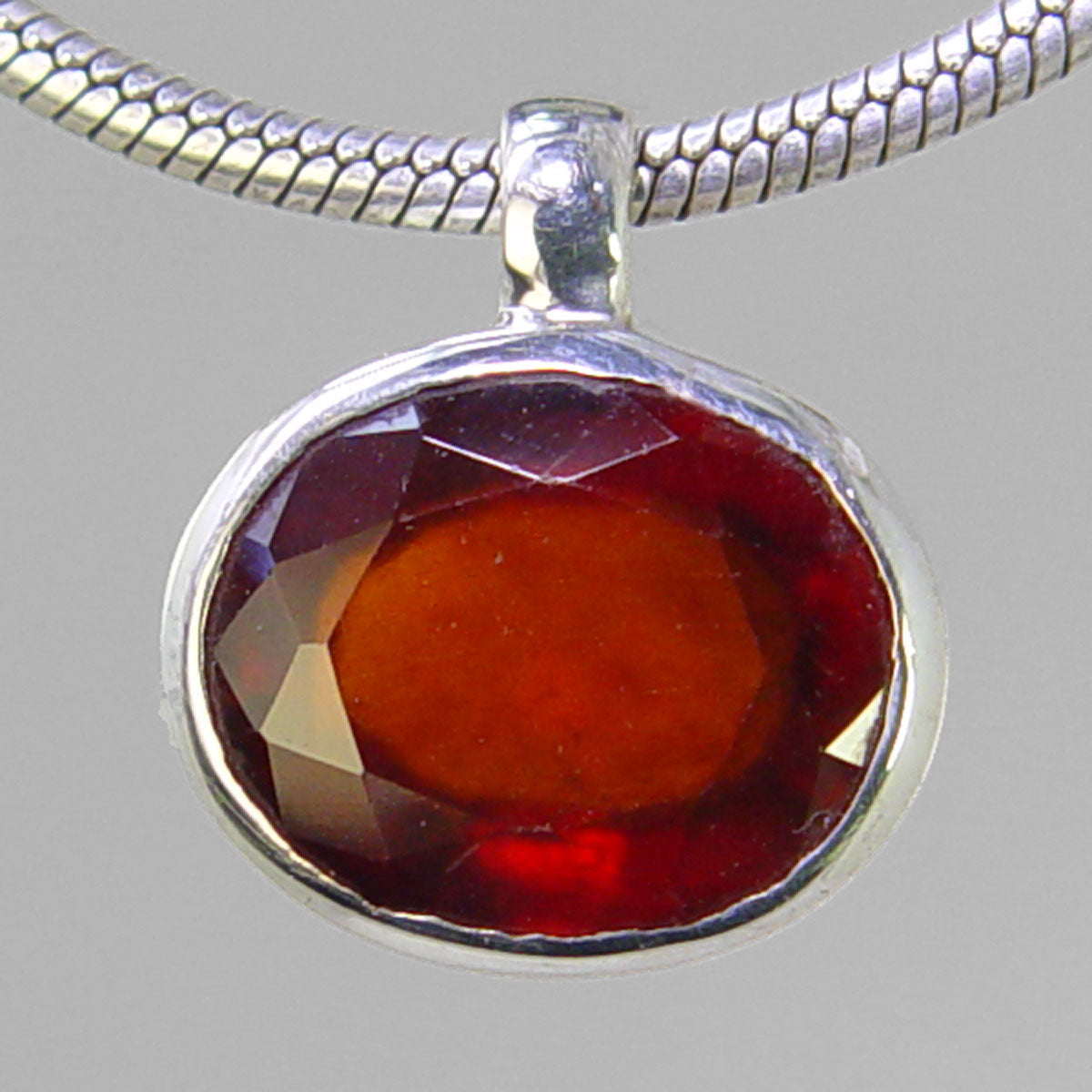 Hessonite Garnet 6.25 ct Faceted Oval Sterling Silver Pendant