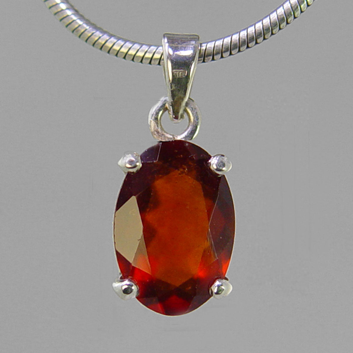 Hessonite Garnet 7.1 ct Faceted Oval Sterling Silver Pendant