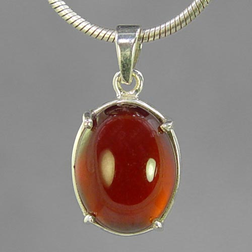 Hessonite Garnet 18.5 ct Oval Cab Prong Set Sterling Silver Pendant