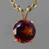 Red Hessonite Garnet 5 ct Faceted Round 14KY Gold Pendant