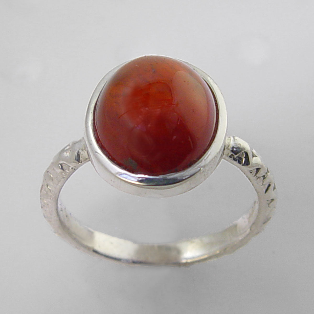 Cinnamon Hessonite Garnet 5.9 ct Oval Cab Sterling Silver Ring, Size 8.5