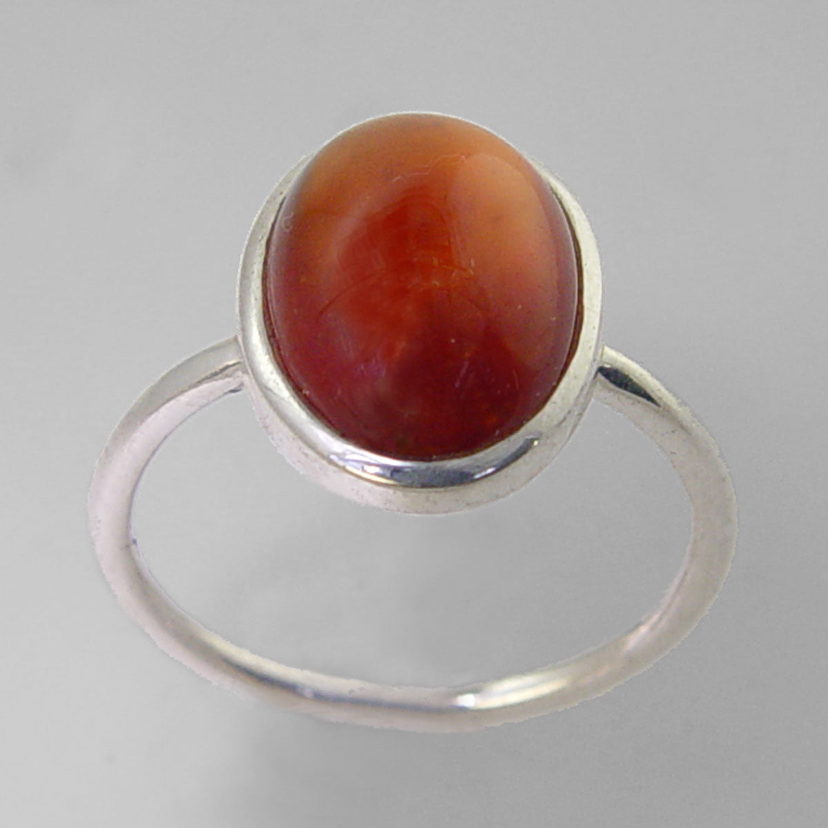 Cinnamon Hessonite Garnet 6.5 ct Oval Cab Sterling Silver Ring, Size 8.5