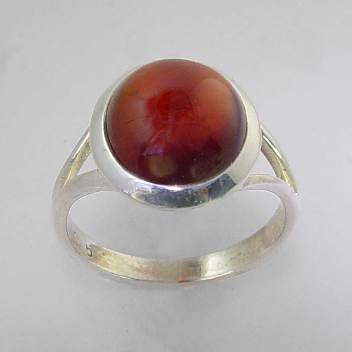 Cinnamon Hessonite Garnet 6.9 ct Oval Cab Sterling Silver Ring, Size 7