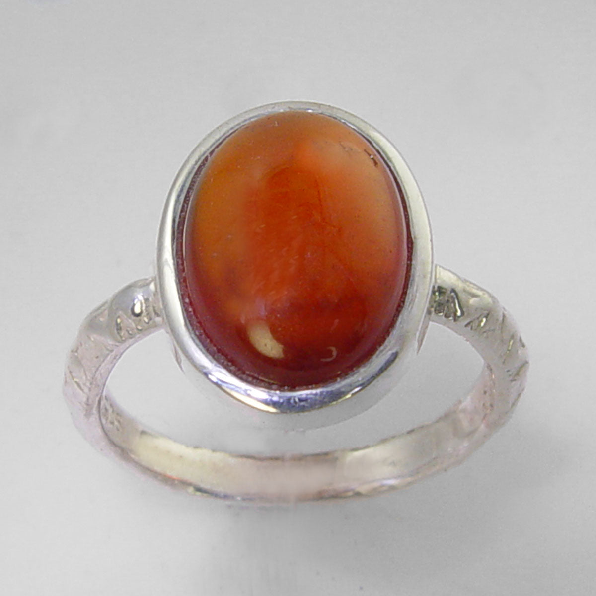 Cinnamon Hessonite Garnet 8.35 ct Oval Cab Sterling Silver Ring, Size 7.5