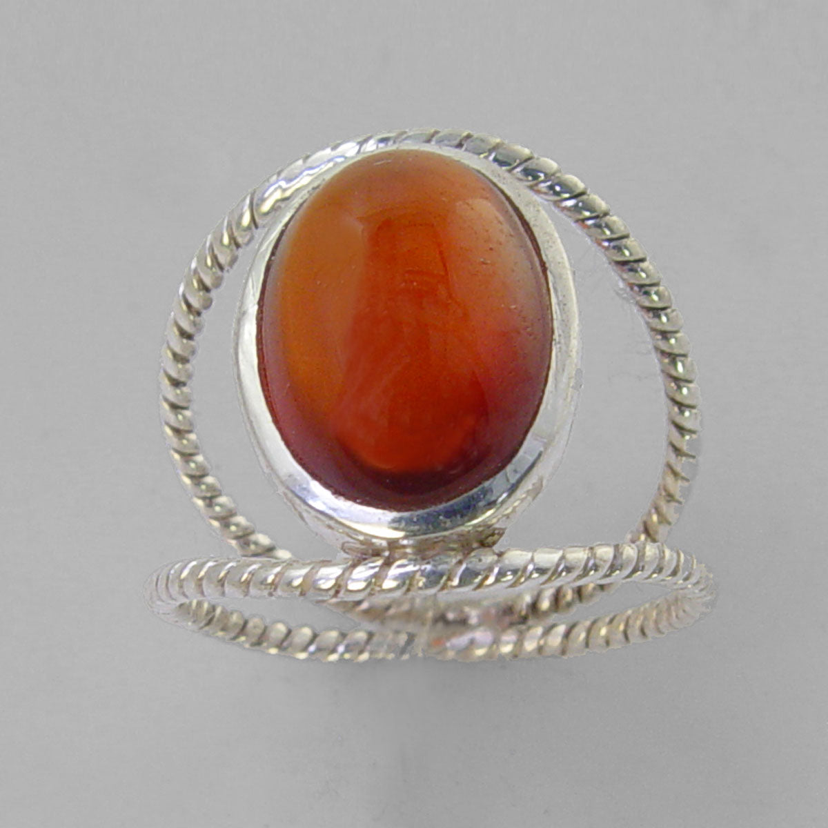 Cinnamon Hessonite Garnet 8.5 ct Oval Cab Sterling Silver Ring, Size 8.5
